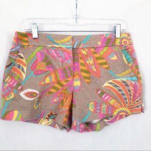 Trina Turk floral cotton shorts size 4 bright